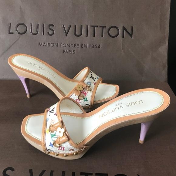 c1d00f18e54 Louis Vuitton Shoes - Louis Vuitton White Multicolor Wood Heels Sandals